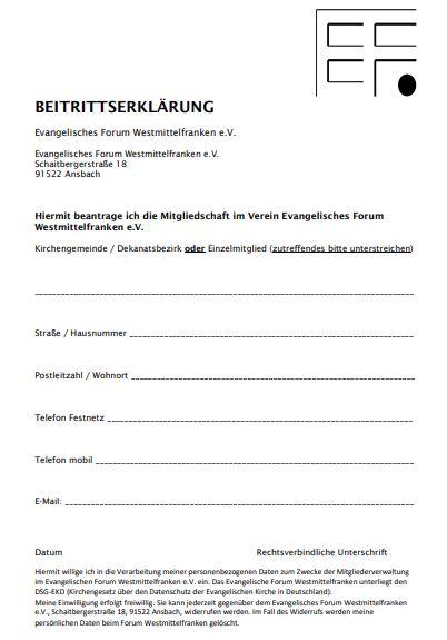 Beitrittserklärung für das Ev. Forum Westmittelfranken